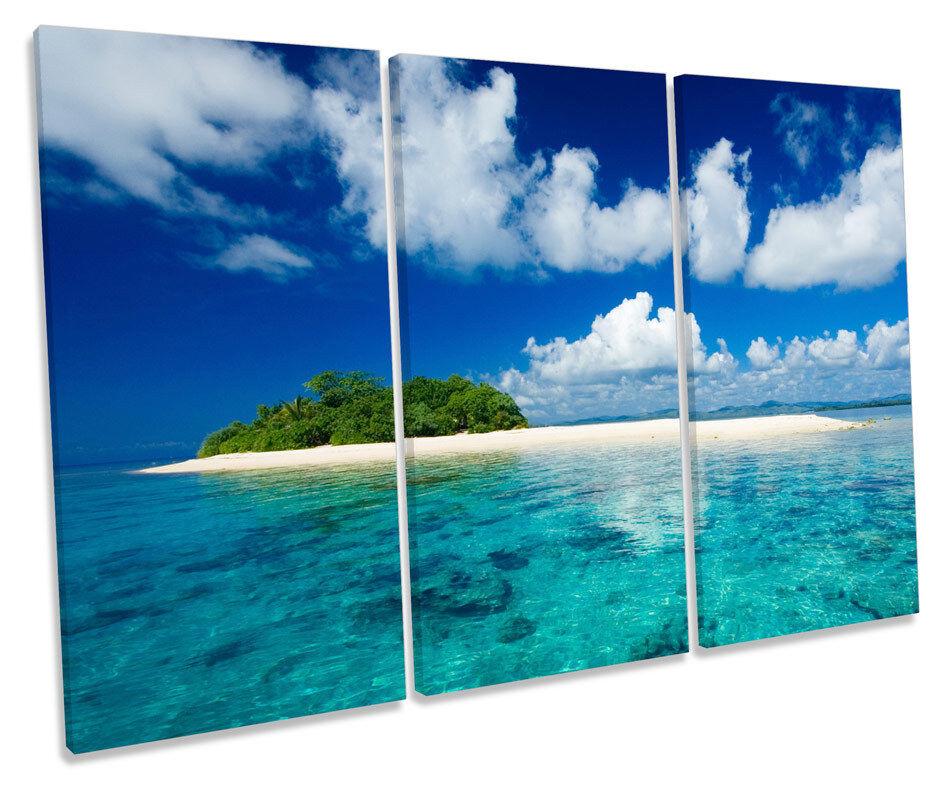 Desert Island TREBLE CANVAS WALL ART Box Framed Picture
