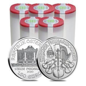Lot-of-100-2020-1-oz-Austrian-Silver-Philharmonic-Coin-BU-5-Roll-Tube-of-20