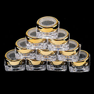 5-20-Sample-Cosmetic-Lid-Jars-Lip-Balm-Makeup-Lotion-Cream-5-G-Golden-Containers