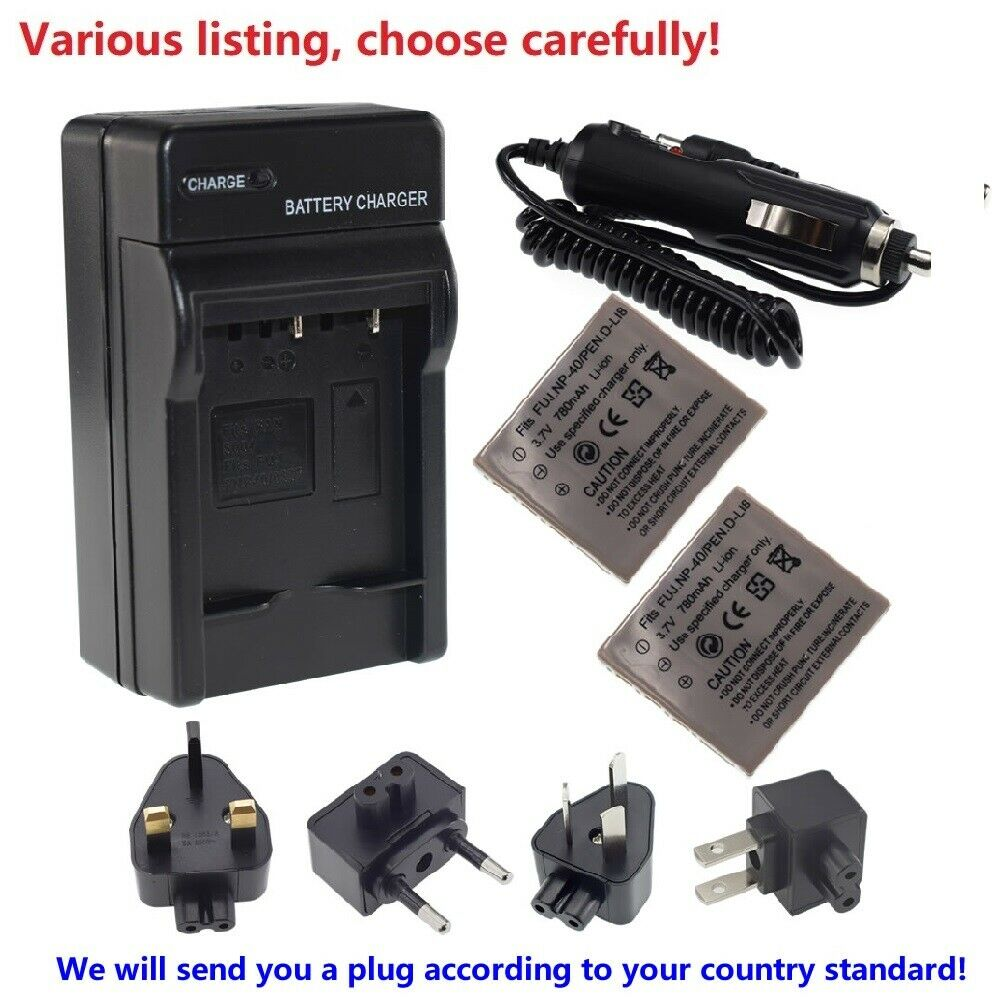 Battery or fast charger for HP PhotoSmart R742 R742V R742xi li40 L2508A Camera