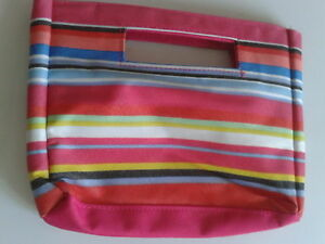SMALL-STRIPED-BAG-CHILD-LADY-MAKE-UP-PINK-MULTI-COLOUR-NEW-6-75-INS-X-9-INS