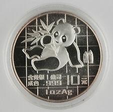 China 1989 1 Oz 999 Silver Panda 10 Yuan Coin GEM BU+ in Original Capsule
