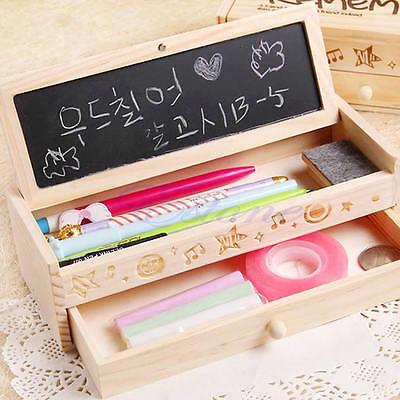 Multifunctional School Pencil Holder Pen Case Stationery Bag Vintage Wooden Box