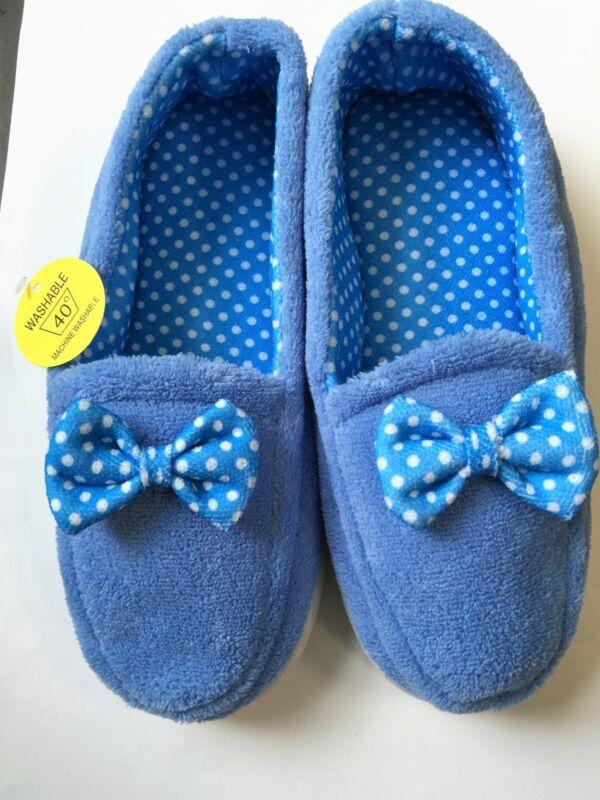 Nuovi Donna Blu Morbida Spugna Pantofole Di Qualità Con Fiocco Tg Uk 7 Nuovo Con Scatola