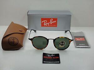 1963833e10108 RAY-BAN ROUND FLECK SUNGLASSES RB2447 1157 TORTOISE   BLACK GREEN G ...