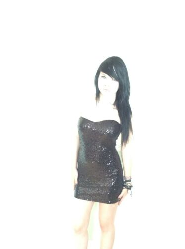LADIES WOMENS BLACK SEQUIN BODYCON CHRISTMAS PARTY MINI DRESS SWEETHEART NECK A2