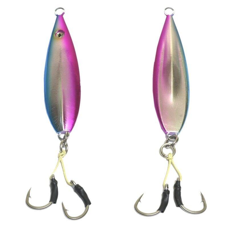 20 pcs Fall Flat OEM Keel Jig - 100gr Pink   bluee  with 4 0 Double Assist Hooks
