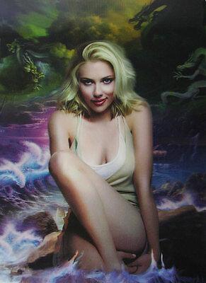 3D Lenticular Poster - Scarlett Johansen - Blonde, Water and Rocks - 10x14 Print