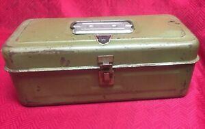 Vintage My Buddy One Tray Green Metal Tackle Box No 1351 Ebay