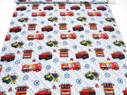 Stoff Baumwoll Jersey Feuerwehrmann Sam grau bunt Feuerwehr Kinderstoff