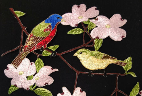 SEWING EMBROIDERED PATCH 2PC DOGWOOD FLORAL FLOWER WILD COUNTRY BIRDS  IRON ON