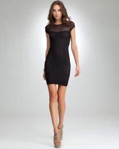 New-Bebe-Womens-Crochet-Sheer-Cap-Sleeve-Bodycon-Mini-Dress-Black-S-59