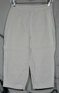 CROFT & BARROW White Stretch Cotton Blend Capri Pants Small No Pockets Unlined