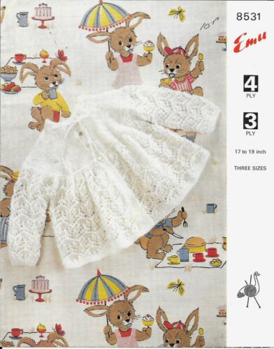 "4ply 17-19/"" Emu 8531 Vintage Knitting Pattern Baby Cardigan//Matinee Coat 3"