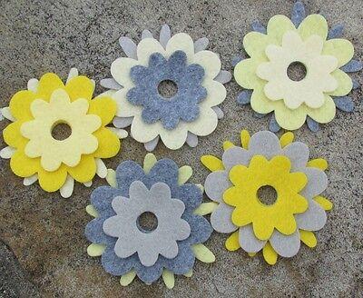 15 Wool Blend Die Cut Applique Flowers - Bright Owl