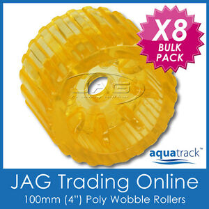 """8 x 100mm 4"""" SOLID POLYURETHANE BOAT TRAILER NON-MARKING YELLOW WOBBLE ROLLERS"""