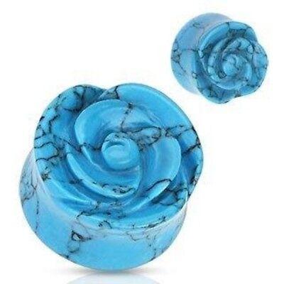 Pair Black Agate Semi Precious Stone Rose Flower Double Flare Plugs Earrings