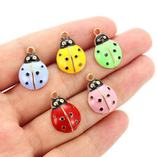 20pcs//pack Green/&Red Alloy Enamel Ladybug Insect Charm For Necklace Pendants DIY