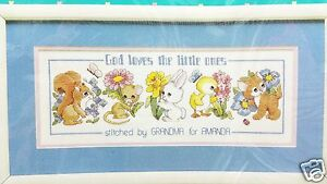 Counted-Cross-Stitch-Baby-Sampler-Kit-God-Loves-the-Little-Ones-New-Vintage-1991