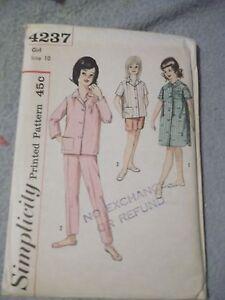 Vintage-Simplicity-4237-Girl-039-s-sz-10-summer-Pajamas-4237-complete-uncut