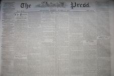 The Press (Phila), October 17, 1857 newspaper. Close of the Kansas Catastrophe