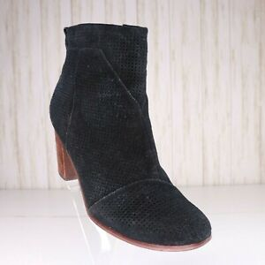 Toms Black Suede Leather Ankle Boots Size 9.5 Womens Booties