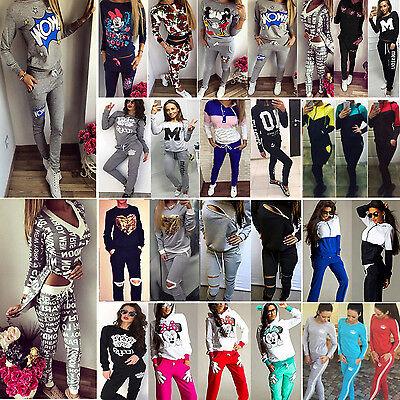 2Pcs Women Tracksuit Set Hoodie Sweatshirt Tops Track Pants Sportwear Sweat Suit