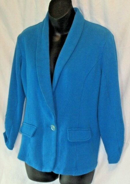 Style & Co Blue 1 Button Cardigan Blazer Jacket Shawl Collar Ruched Sleeve Sz M
