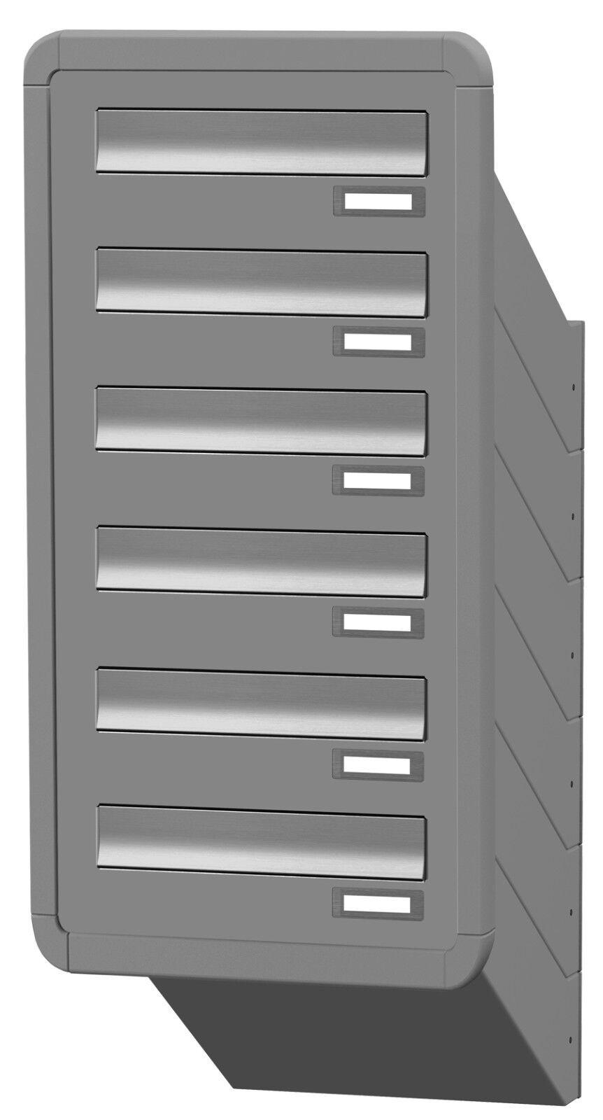 Mauerdurchwurf Briefkasten 6 er variable Tiefe Rahmen TE130 Farbauswahl MDH214