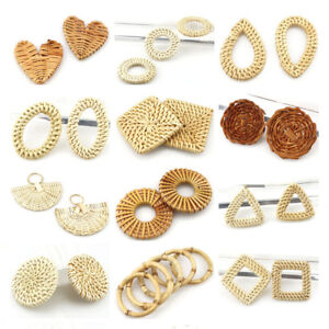 2pcs-pair-Diy-Round-Drop-Wooden-Straw-Weave-Rattan-Earring-Jewelry-Marking