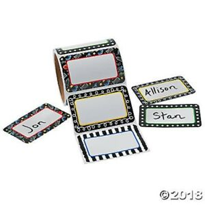 Roll Of 100 Black And White Name Tags Badges Stickers Birthday Party