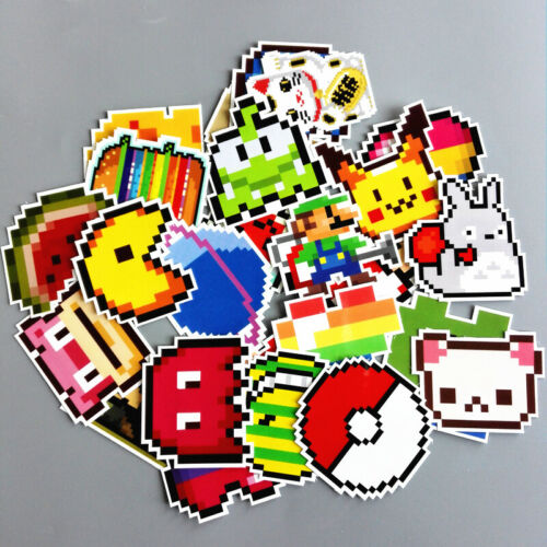 8 Bit Retro Pixel 25 Stickers Skateboard Laptop Car Phone Tablet Decals