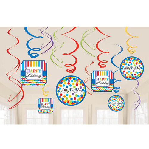 ~ Party Supplies Cutout Foil Blue 12 BRIGHT BIRTHDAY HANGING SWIRL DECORATIONS