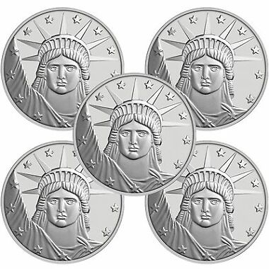 Lot of 5 Silvertowne Lady Liberty Silver Round