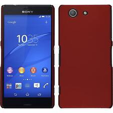 Coque Rigide Sony Xperia Z3 Compact - gommée rouge + films de protection