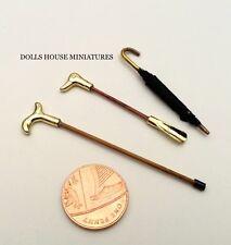 Shoe Horn, Walking Stick & Umbrella. Dolls House Miniature Accessories