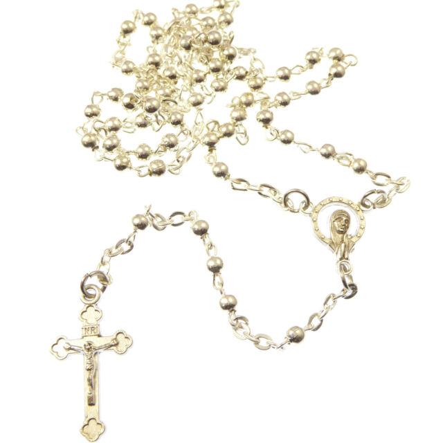 color plata metal pequeño Católica Rosario EN CAJA DE REGALO oración Cuentas