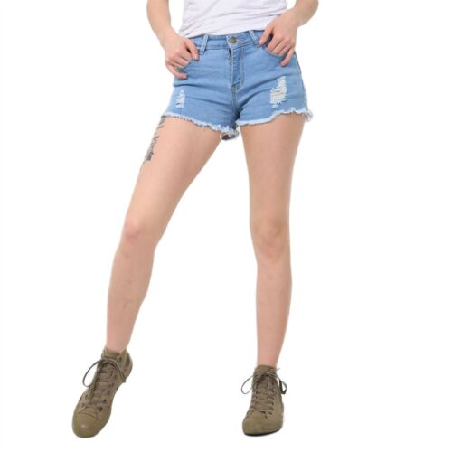 Womens Ladies Denim Raw Edges Ripped Distressed Button Zip Up Faded Jeans Shorts