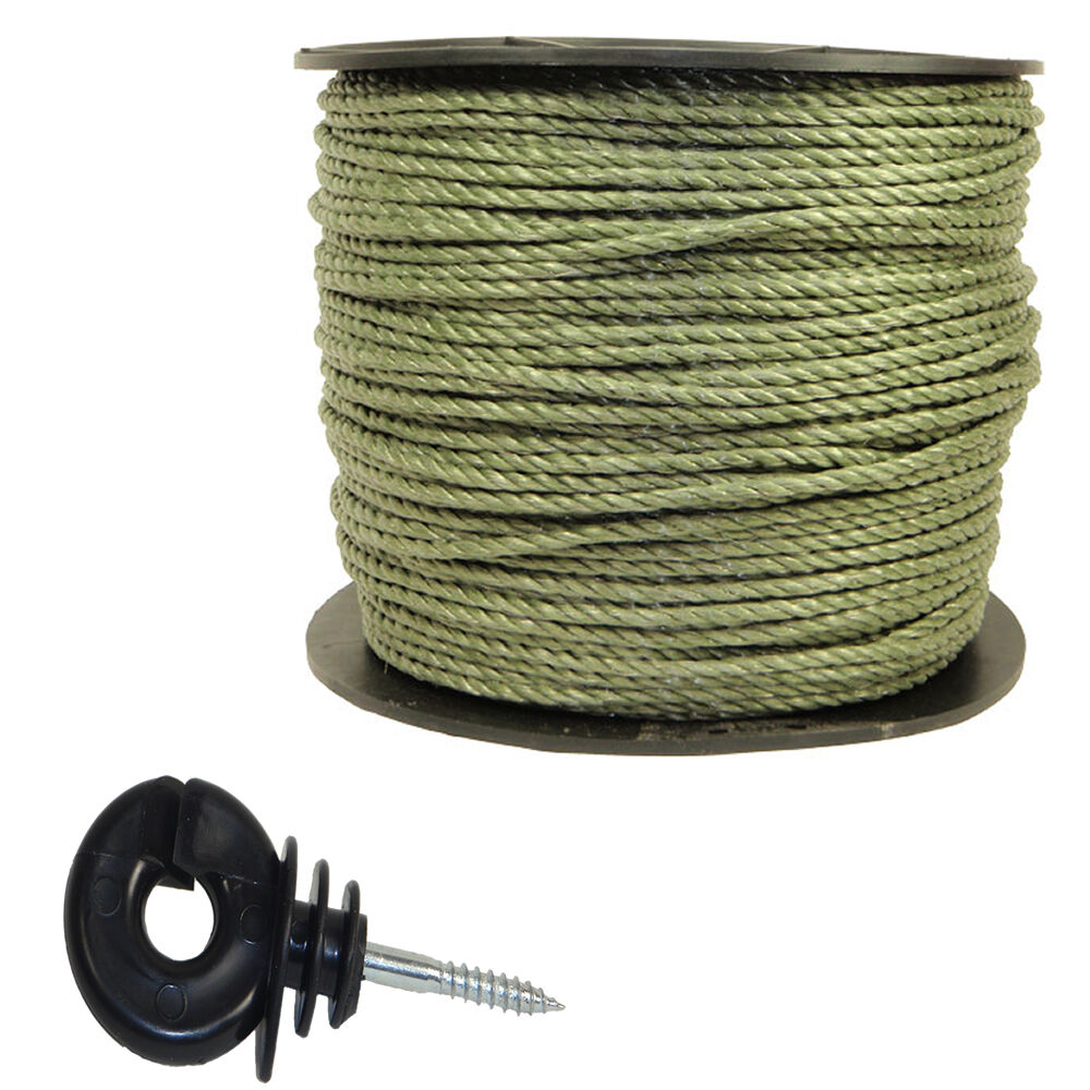 Electric Fence   Fencing  ROPE and Rings  xvalue kit GREEN