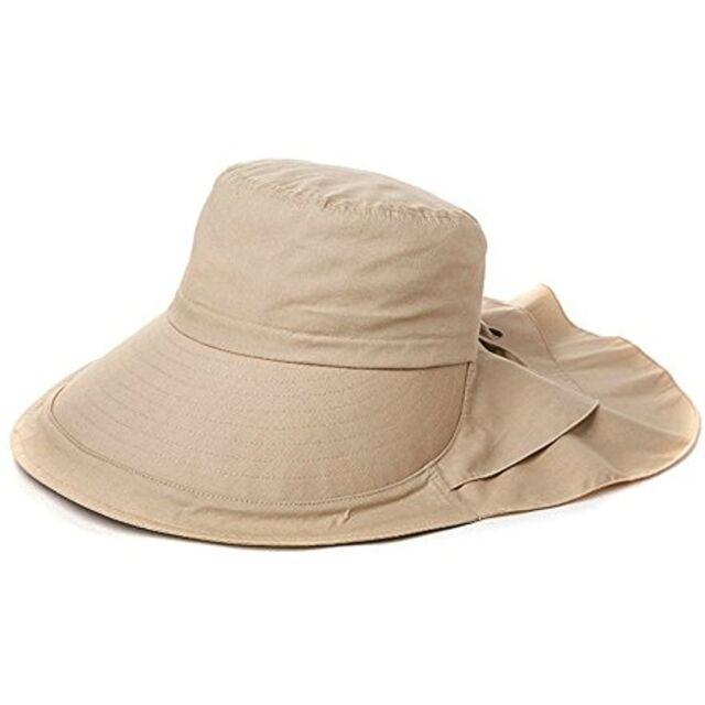4c81ec6255d27 Siggi Summer Bill Flap Cap UPF 50+ Cotton Sun Hat Neck Cover Cord Wide Brim