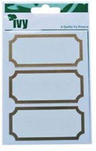 21 Stickers Gold Border Stickers 34mm x 75mm Self Adhesive Sticky Labels