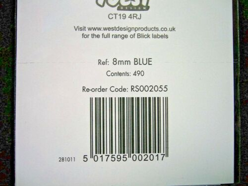 Blick Blue 8mm Dots Self Adhesive Label RS002055 Identification Sticker 490 Dots