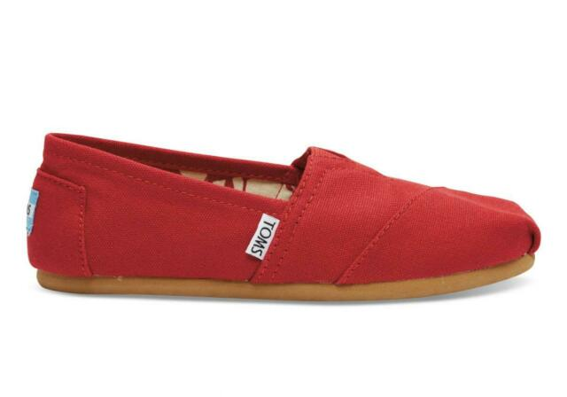 Toms CLASSIC Red Canvas Animal Print Liner Slip On 001001B07 (107) Women's Shoes