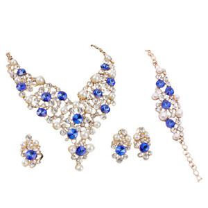83d769556 Luxury Crystal Bridal Pearl Alloy Necklace Earrings Party Jewelry Set ...