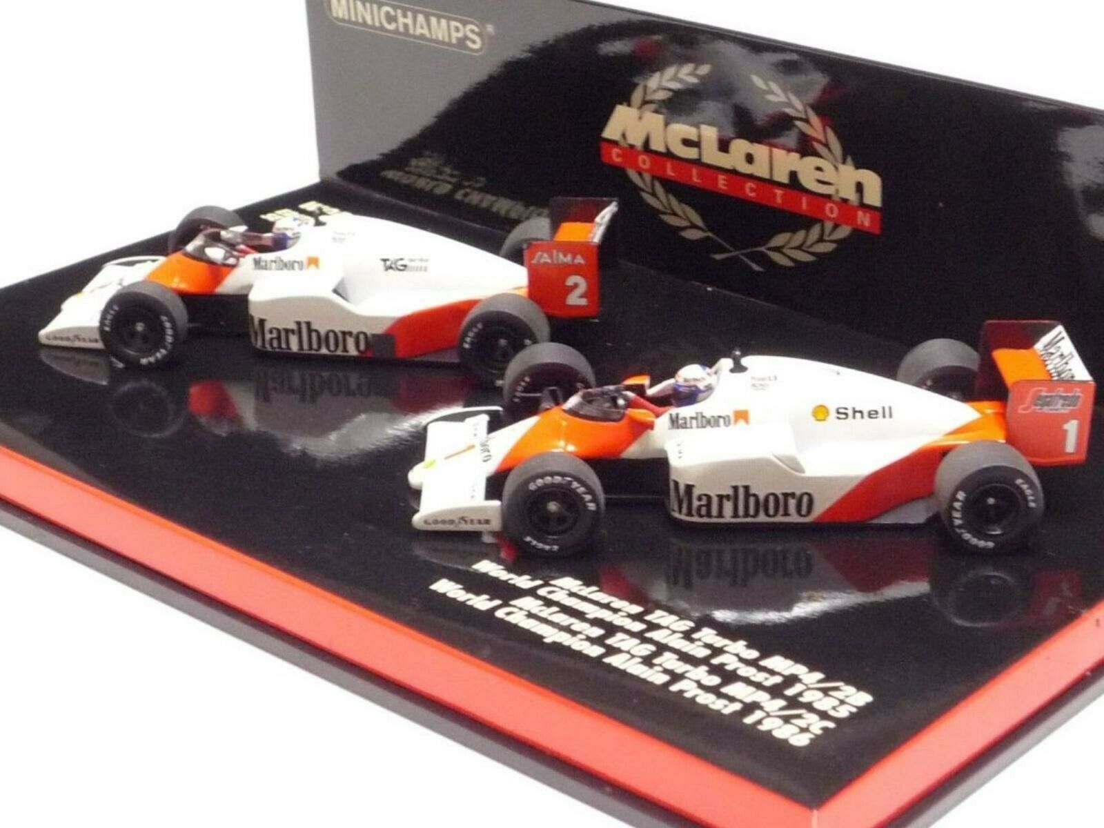 WOW EXTREMELY RARE McLaren WC Set MP4 2B & MP4 2C Prost 85 86 1 43 Minichamps