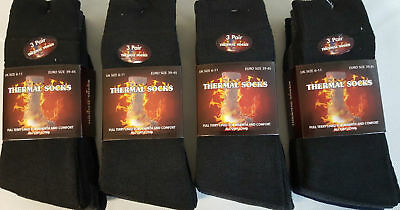 3 PAIRS MEN'S THICK THERMAL SOCKS WINTER WARM 6-11 UK BLACK THICK SOCKS