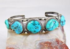 Turquoise and Sterling Silver Cuff Bracelet Stamped IHM, Quan Abeyta & Sterling