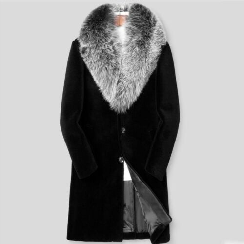 Men/'s Parkas Outwear Business Trench Coat Cashmere Shearling Overcoat Faux Fur