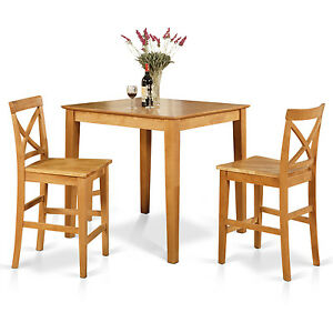 3pc counter height pub set 36x36 table 2 bar stool wood chairs in