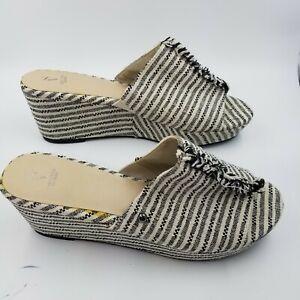 SIMPLY VERA VERA WANG Women's Open Toe Sandal Slip On Mules Sz 10 Black/White